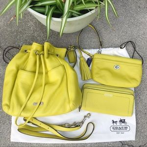COACH Bucket Bag, Wallet, and Wristlet in Yellow